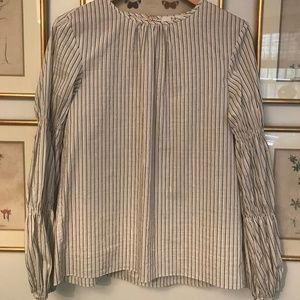 Tibi striped cotton blouse with scrunch sleeves